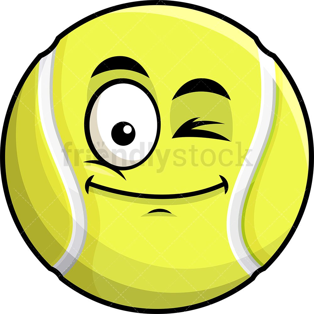 Winking Tennis Ball Emoji Cartoon Clipart Vector Friendlystock Emoji Tennis Ball Cartoon Clip Art