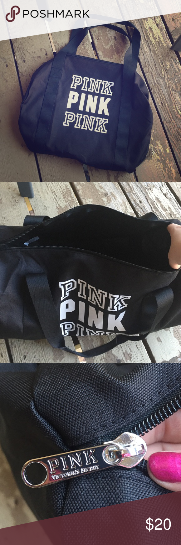 """PINK VS Black Duffle Bag Super cute bag- perfect for a weekend trip! Dimensions are 18""""x15""""x9"""". Brand new! PINK Victoria's Secret Bags"""