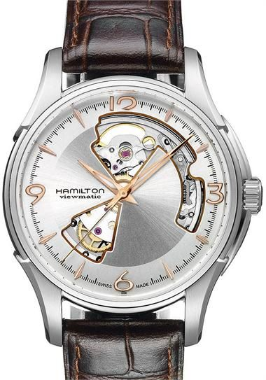 Hamilton JazzMaster Open Heart Steel Gold Skeleton Automatic REFERENCE  INFORMATION Cal. ETA 2824-2 automatic mechanical movement FEATURES 40MM  Swiss Made ... 4e617987337