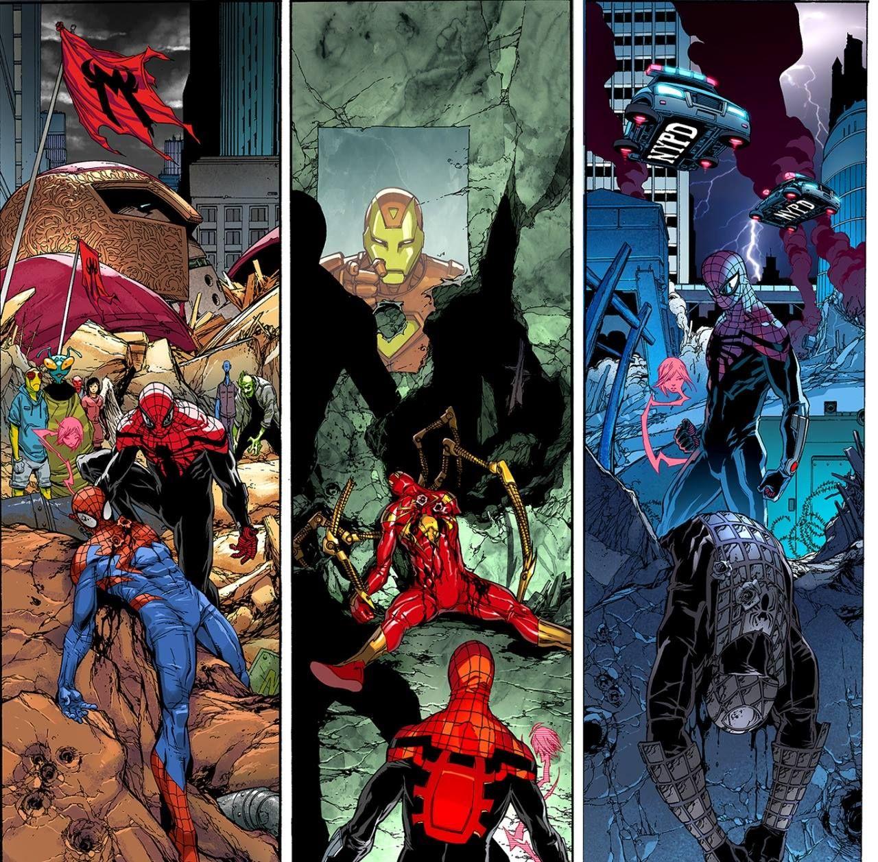 Superior Spider-Man #32 interior art by Giuseppe Camuncoli, John Dell, Antonio Fabela *