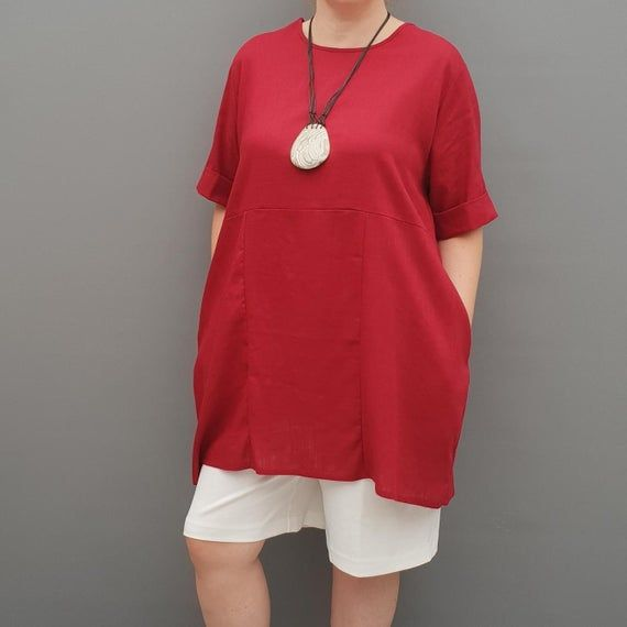 Linen Tunic Summer Top Loose Lagenlook Blouse Short Sleeve Plus Size   [l1064_wine] #linentunic