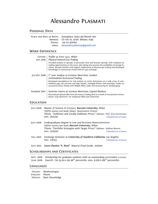 professional cv - latex template