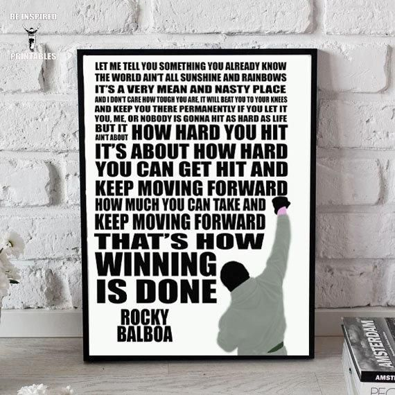 Rocky Balboa - Thats How Winning Is Done Printable Wall Art PDF JPG #rockybalboaquotes