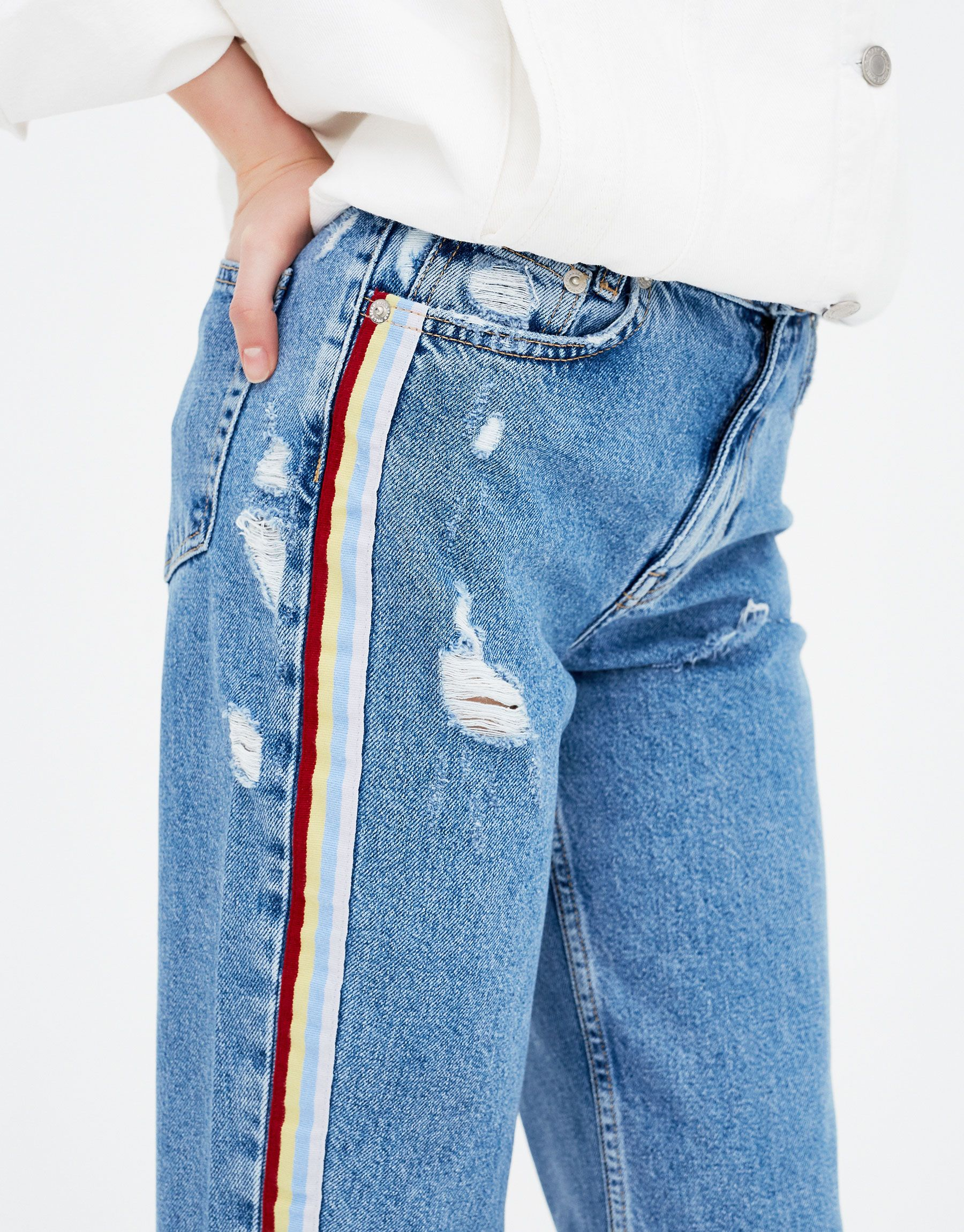 4869d6fc05963 Mom jeans with side stripes - Jeans - Clothing - Woman - PULL BEAR United  Kingdom