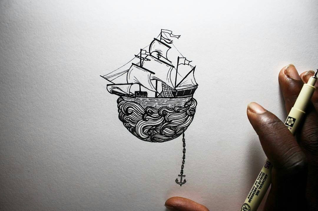 A ship drops anchor in this #penandink #drawing by Osman Mansaray (@os.mansaray) but the crew might be alarmed to discover that the sea is not as deep as they originally believed... Or perhaps the sea is bound to the sailing ship as they fly away like the pirate ship at the end of Peter Pan? Regardless of the story behind it this is a wonderful illustration and looks as great on paper as I'm sure it would as a tattoo design. Awesome piece Osman! ::------:: #sailing #pirate #boat #ocean #ship…