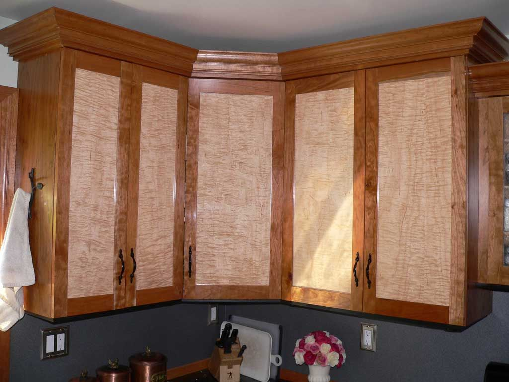 Cherry Kitchen Cabinet Doors Curly Maple Cabinet Doors Cherry W Curly Maple