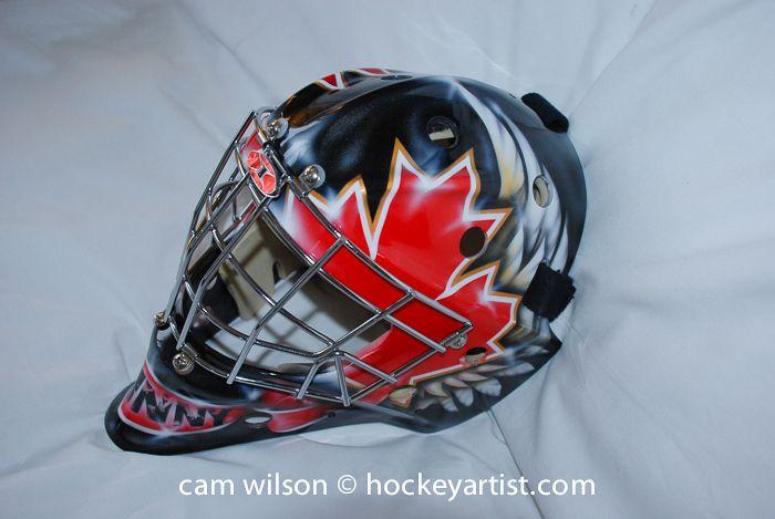 818c60fe1f0 Canadian Theme Goalie Mask - Airbrushing by Cam Wilson www.hockeyartist.com
