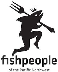 Logo: Fish People Seafood: Gourmet seafood entrees packed full of premium, sustainably harvested wild seafood landed at Pacific Northwest ports as well as locally grown veggies and herbs.