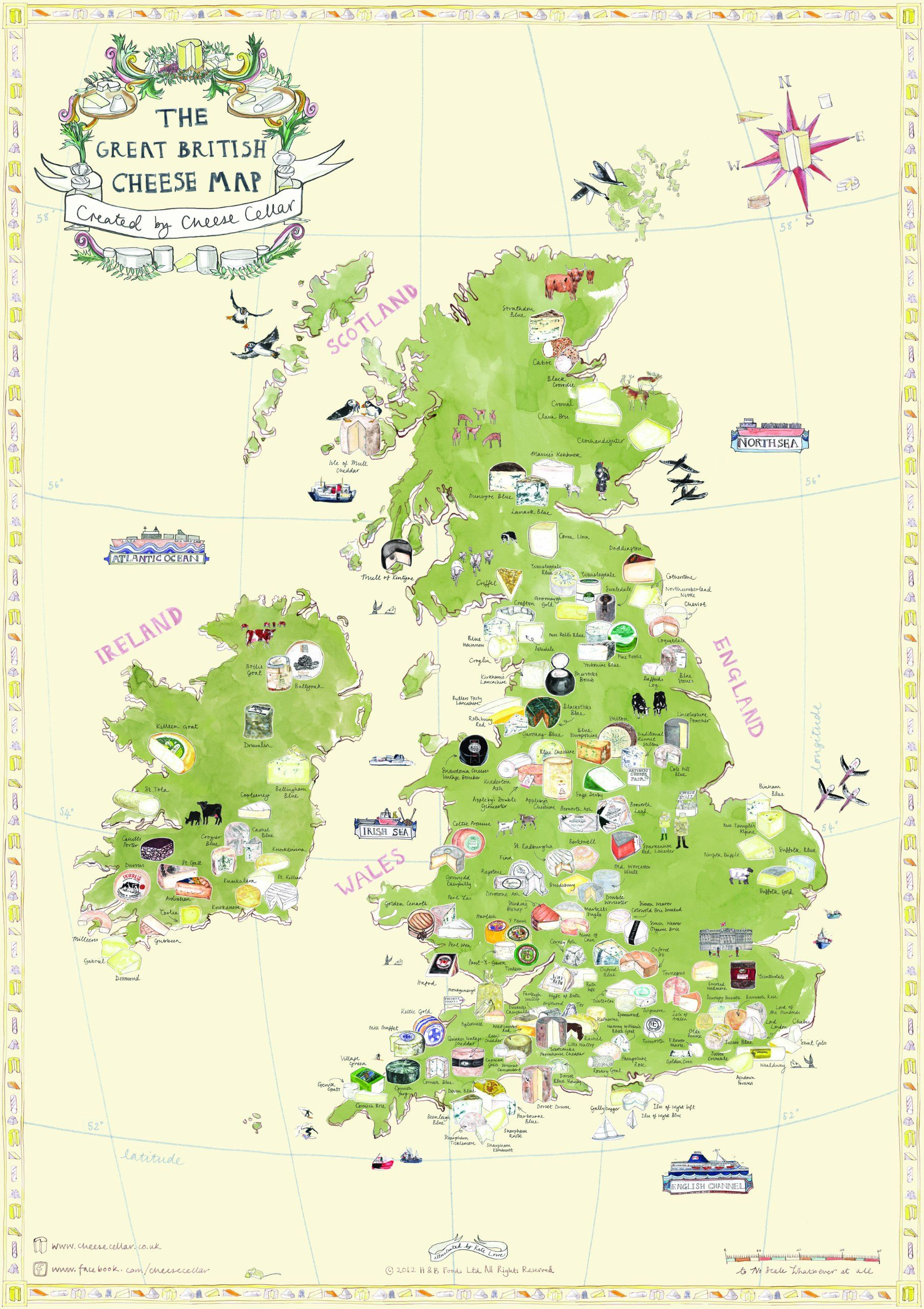 GREAT BRITISH CHEESE MAP Poster Artwork by Kate Lowe Amazonco
