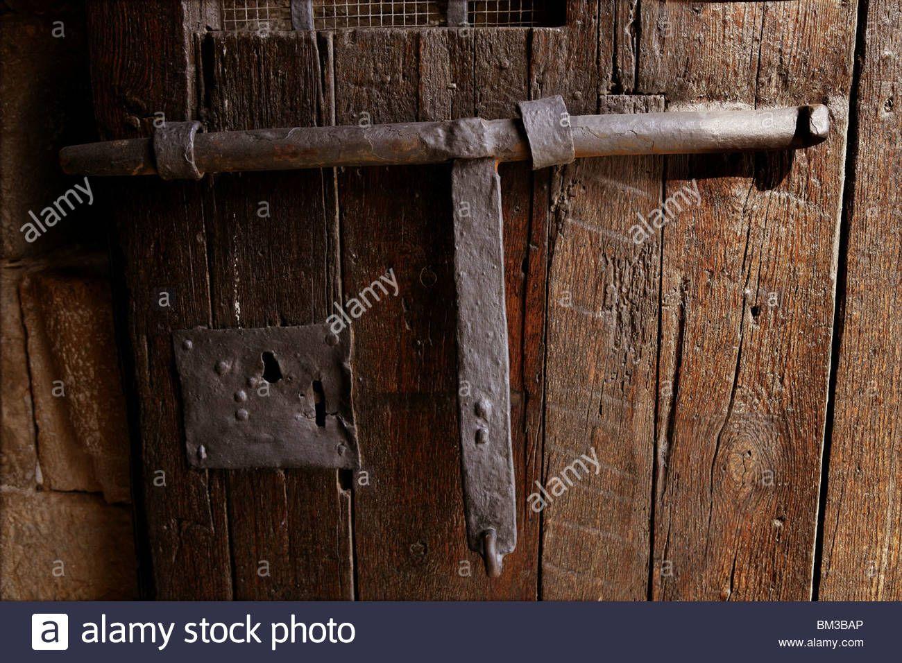 Old Medieval Lock On Wooden Castle Door Real Antique In Spain Stock Photo Wooden Castle Door Color Castle Doors