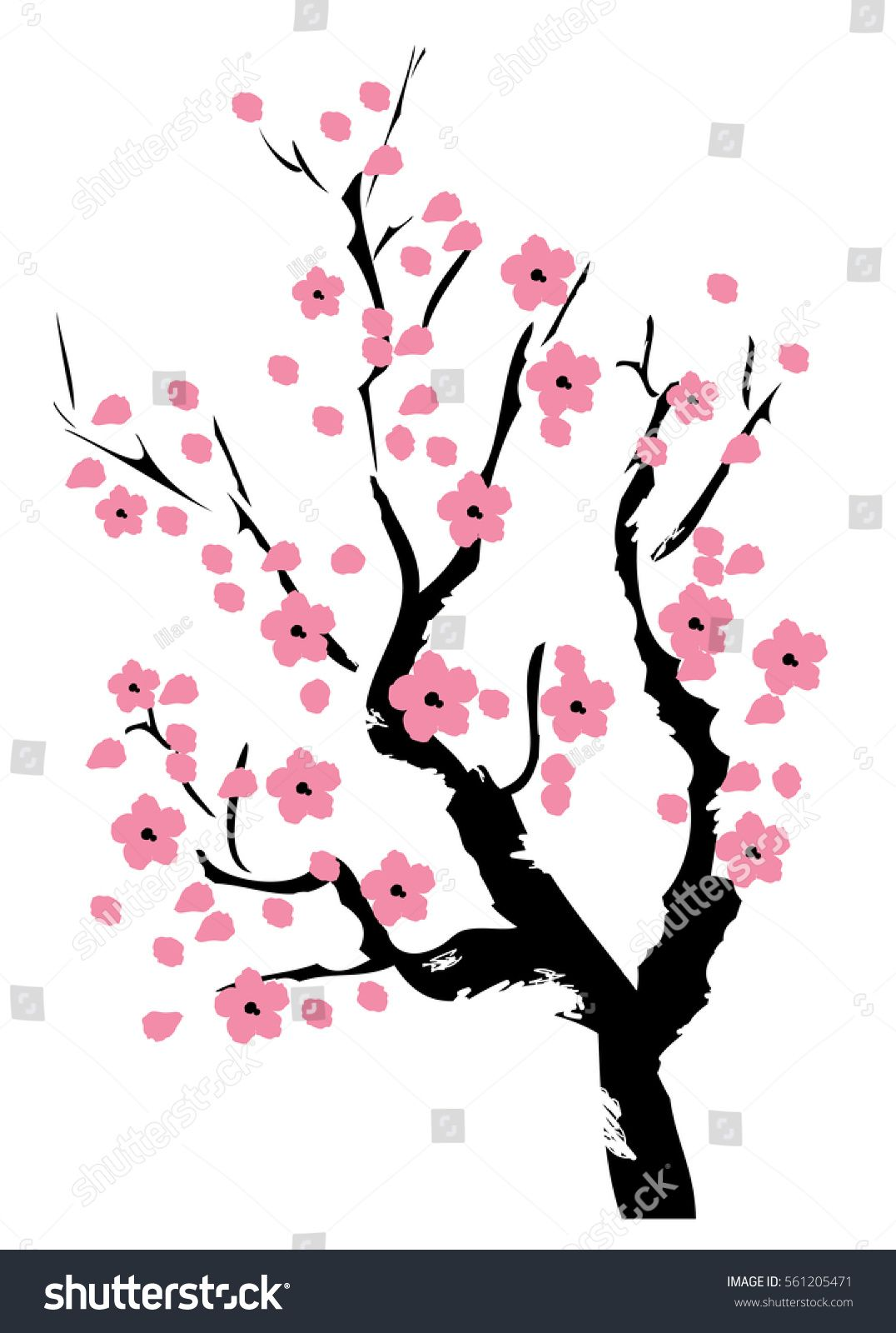 Vector Illustration Of Cherry Blossom Tree Tree Coloring Page