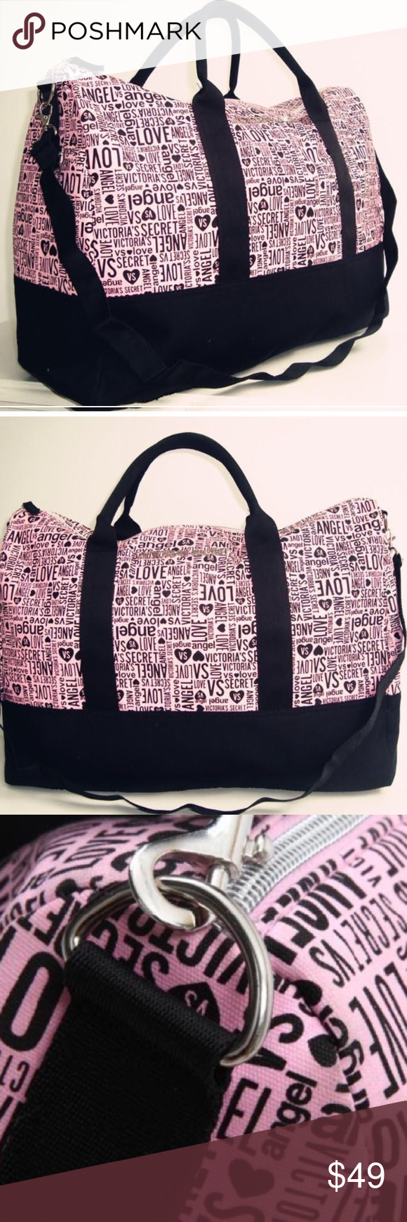 608f3a67aa80 Victorias Secret Pink Stripe Duffle Bag