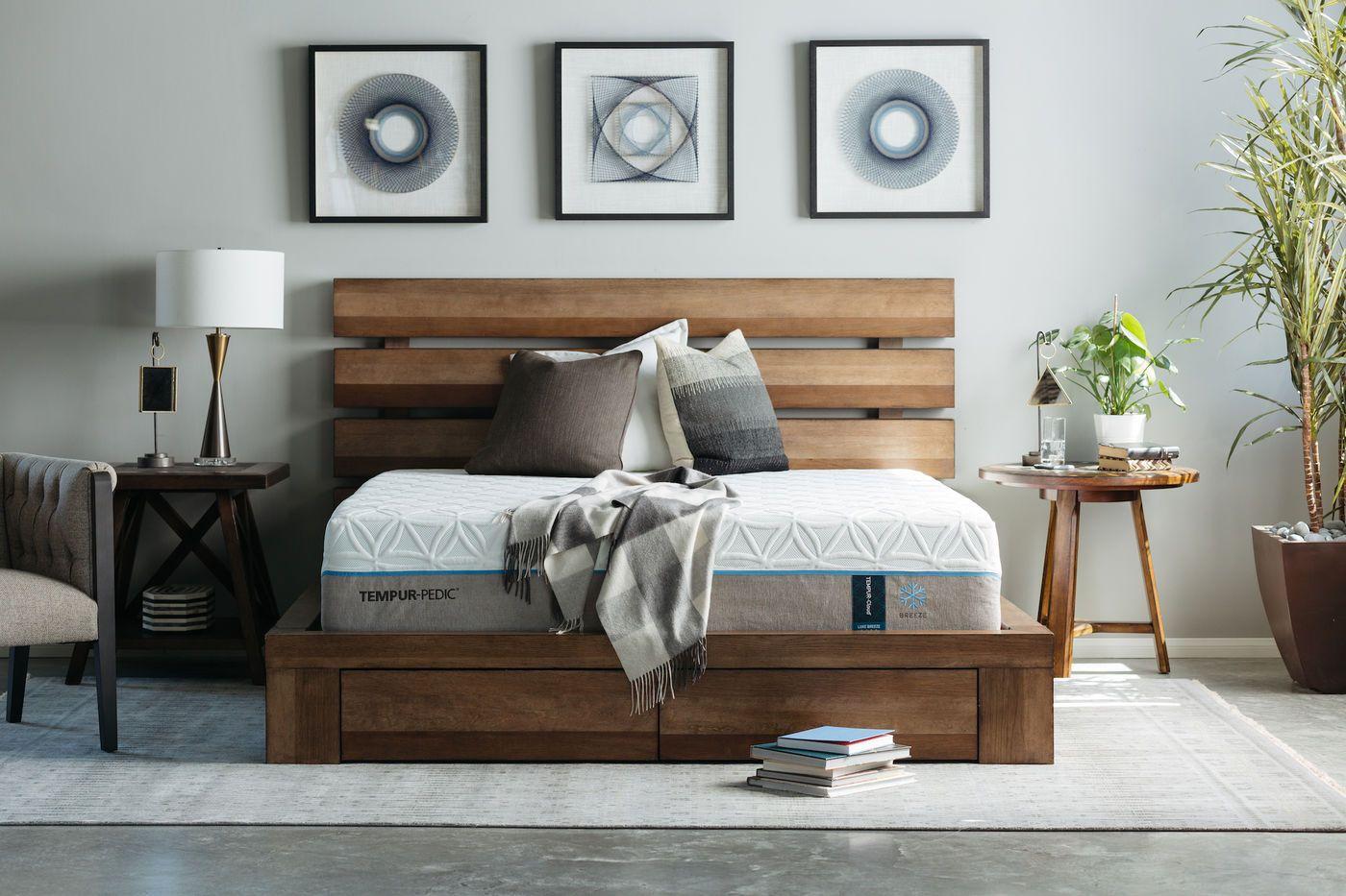 MidCentury Modern Planked Storage Bed in Brown Mathis