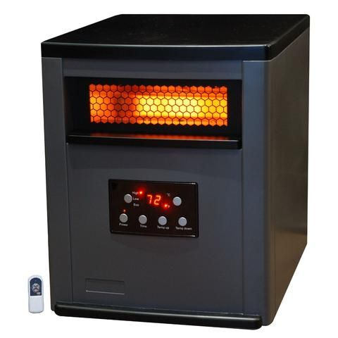 Infrared Space Heater W Remote 5 200 Btus Heat Two Tone Fireproof