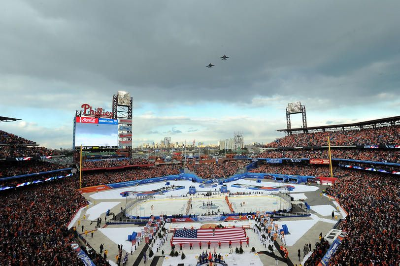 PHILADELPHIA, PA - JANUARY 02: A general view of the opening ceremonies prior to the start of the 2012 Bridgestone NHL Winter Classic at Citizens Bank Park on January 2, 2012 in Philadelphia, Pennsylvania. (Photo by Noah Graham/NHLI via Getty Images)