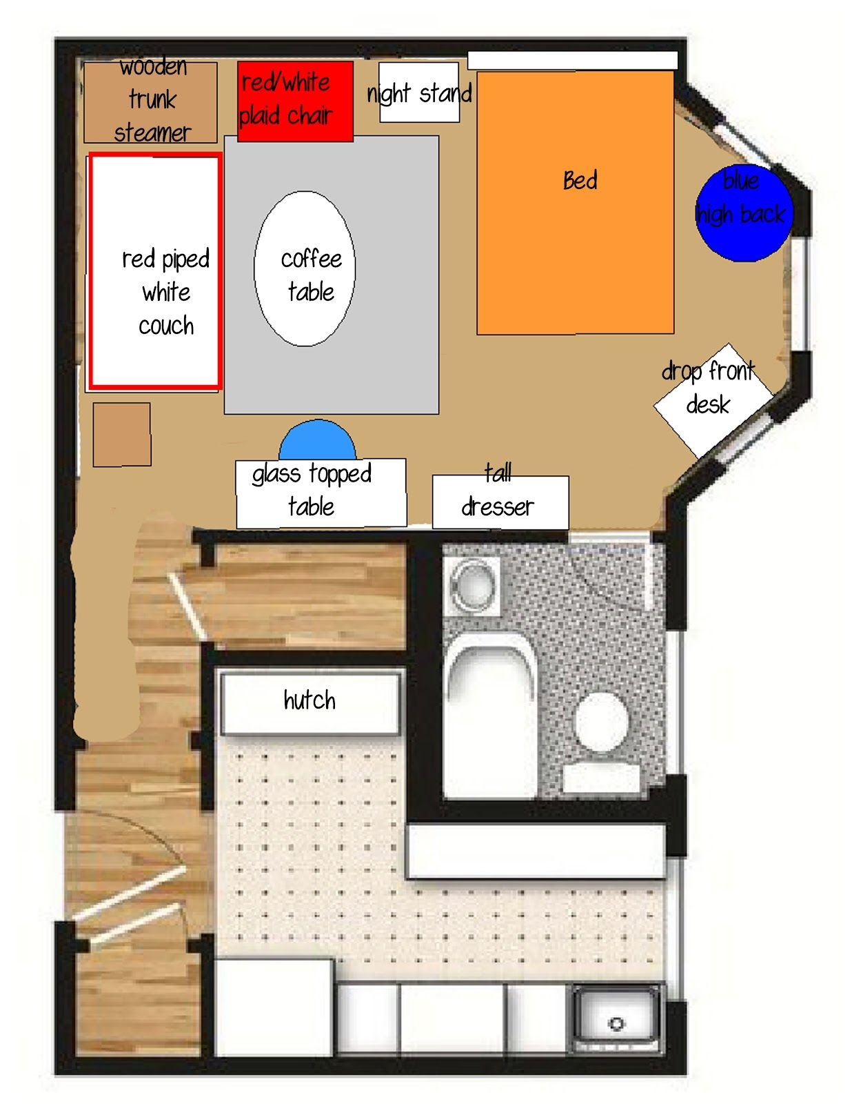 Studio Apartment Furniture Layout How I Helped Layout A Tiny Tiny Apartment With Shabby Chic