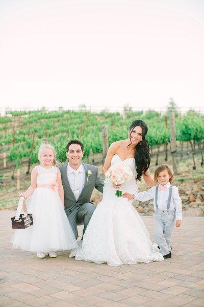 fae9497144 Grey + pink flower girl + ring bearer idea - white flower girl dress with  light pink sash + flower accent + ring bearer in grey pants with grey  suspenders + ...