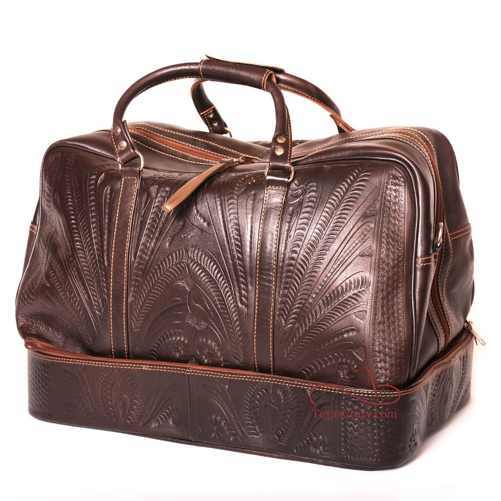Large Tooled Leather Boot Bag Duffel In 2019 Cowboy Boots