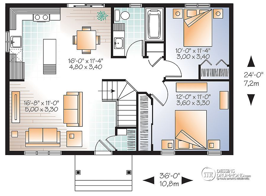 Plan de Maison unifamiliale W3137 modèle de maison Pinterest
