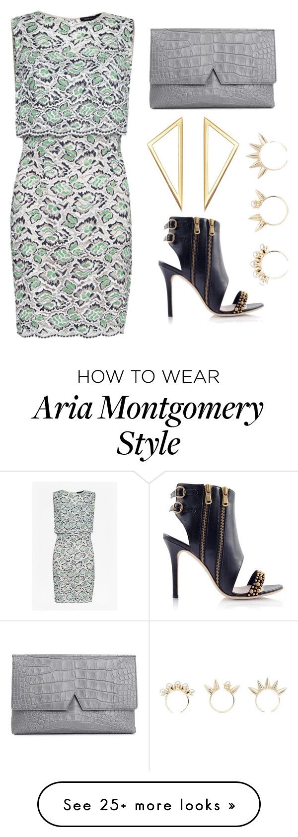 """""""Aria Montgomery- Wedding Guest"""" by allycatstar on Polyvore featuring Konstantina Tzovolou, French Connection, Vince and Joomi Lim"""