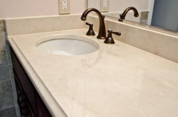 Crema Marfil Marble Modern Bathroom Countertops Dc Metro