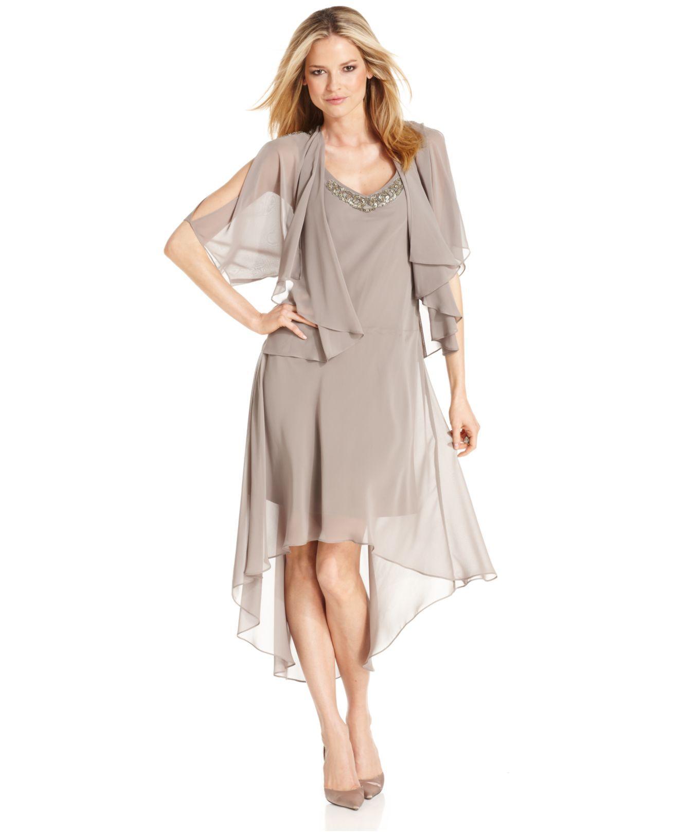 SL Fashions Dress and Jacket, Sleeveless Beaded High-Low Hem ...