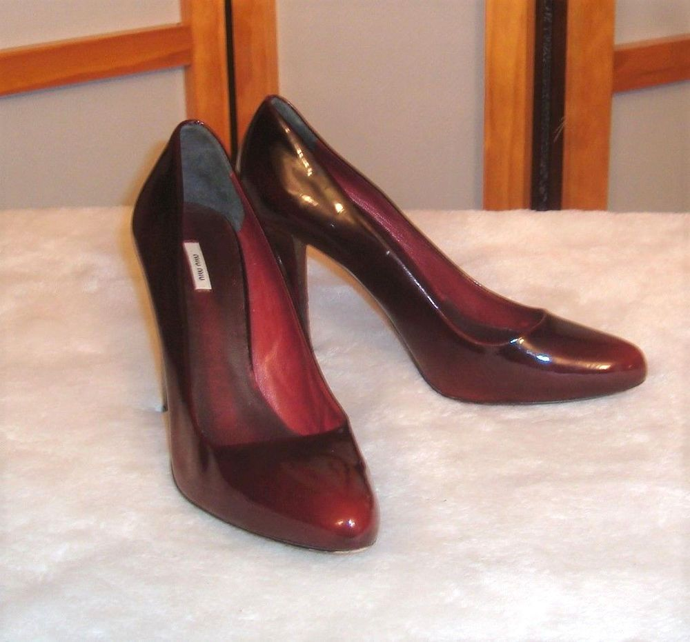 3fcfbafc9fb MIU MIU Sz 36.5 EU 6.5 US Amarena Cherry Patent Leather Cone Heel Dress  Pumps  MiuMiu  Classics  FormalHoliday
