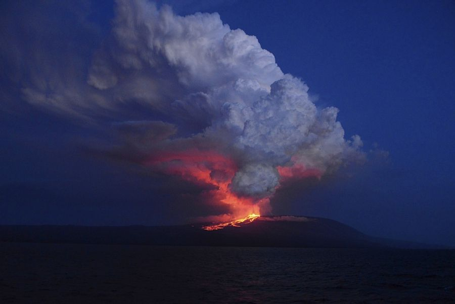 The Wolf volcano spews smoke and lava on Isabela Island, May 25. Credit: Reuters/Galapagos National Park/Diego Paredes On Monday, Wolf volcano on the Galapagos Islands erupted spewing fire, smoke and lava. Authorities say the eruption, the first for the volcano in 33 years, posed no immediate danger to the local population of people. Nor, apparently, to Isabela island's pink iguanas, the world's only known population of the the species. The Galapagos National Park says that the lava was…