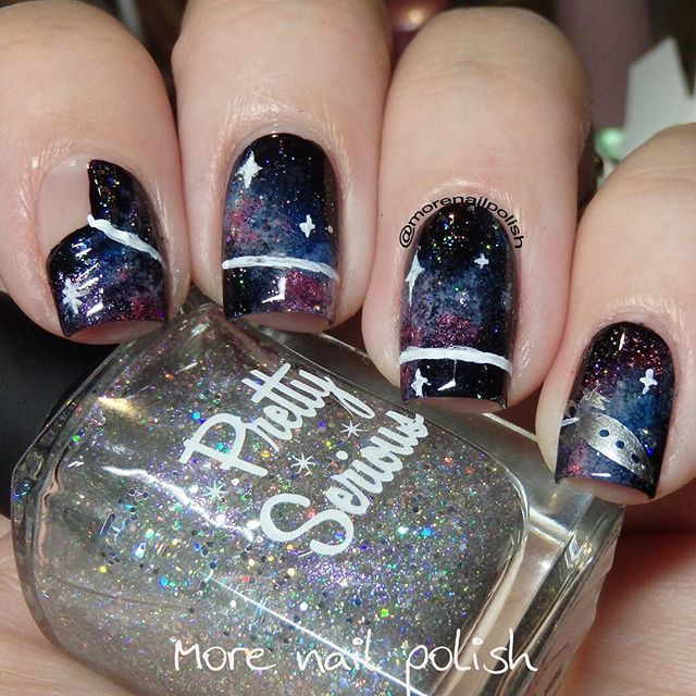 Piggieluv 3d Pull The Curtain Nail Art: This Year My Galaxy Nails Are