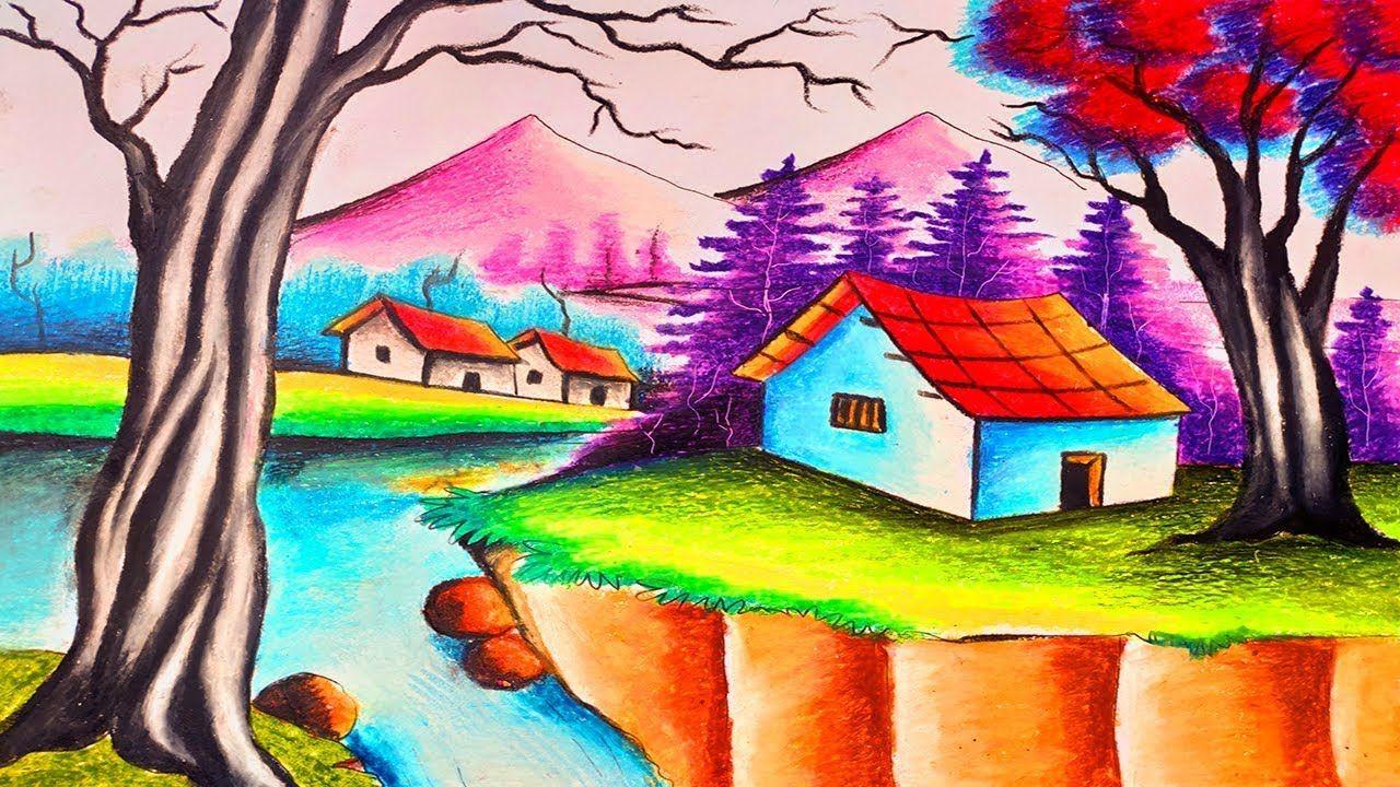 Beautiful Landscape Scenery Drawing By Oil Paste Color Village Scenery Landscape Drawings Landscape Scenery Oil Pastel Colours