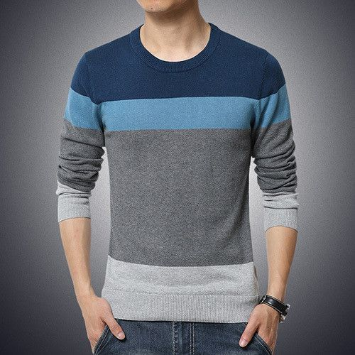 New Autumn Fashion Brand Casual Sweater O-Neck Striped Slim Fit Knitting  Mens Sweaters And 3aa18a817