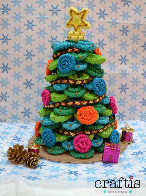 Tutorial Navideno Como Hacer Un Arbolito De Navidad De Papel Crepe