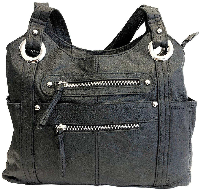 Leather Locking Concealment Purse Ccw Concealed Carry Gun Shoulder Bag Black Handbags