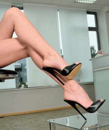 Fuss Mules Vitello nero Black Stiletto Mistress Heels