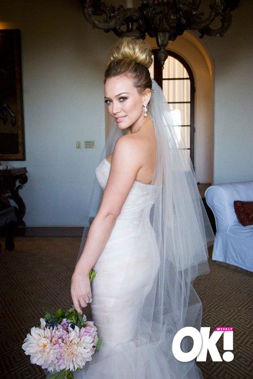 Found On Weddingbee Com Share Your Inspiration Today Hillary Duff Wedding High Bun Wedding Wedding Hairstyles With Veil