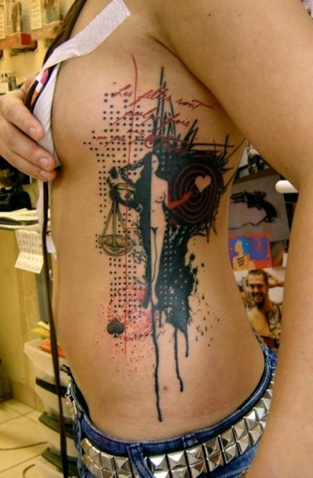 rib tattoo...I like this style...minus the naked woman   Artwork ...