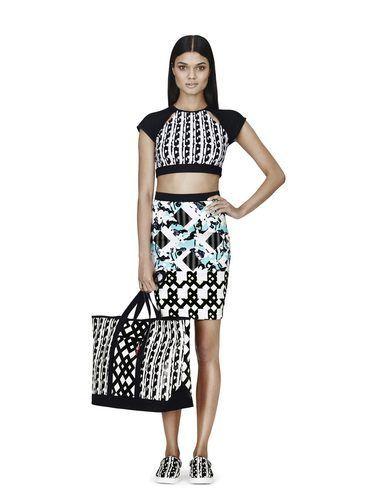 141682eb001 Peter Pilotto x Target Bikini Crop Top in Black/White Print, $24.99; Skirt  in Light Blue Floral/Check Print, $34.99; Tote in Black/White Print, ...