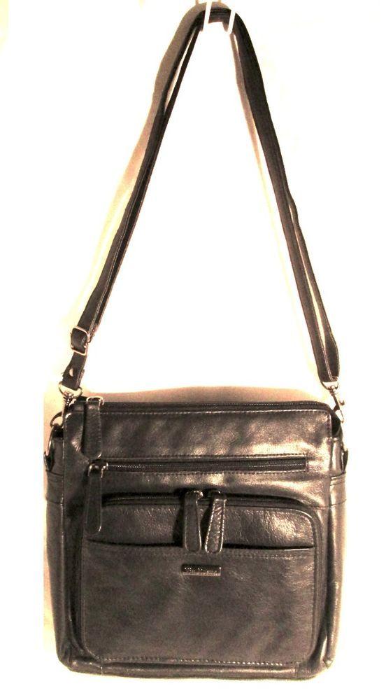 ee3dc408785b VIA ROMA Genuine buttery soft Navy Blue Black Leather Crossbody Organizer  purse #AuthenticVIAROMAluxurydesignerslimzipperbag # ...