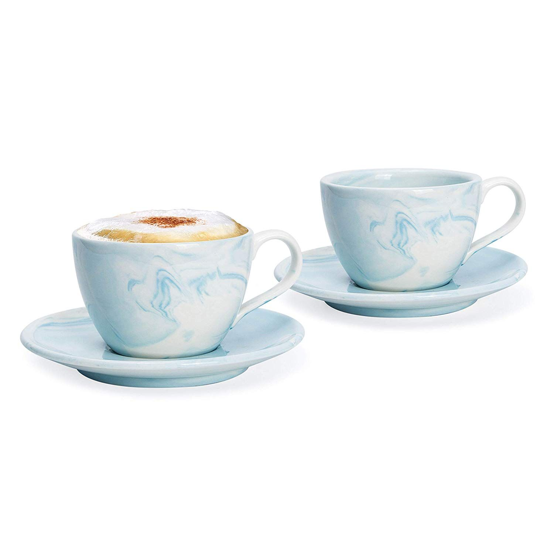 Hausmann Söhne Cappuccino Tassen Dickwandig 2er Set Blaue Marmor Tassen Mit Untertasse Porzellan Tasse 170 Cappuccino Tassen Cappuccino Porzellan Tasse
