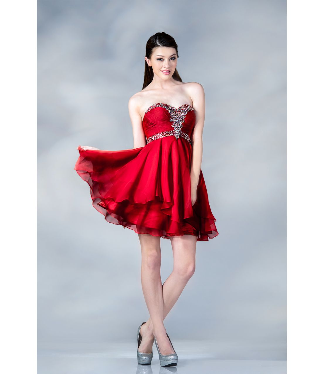 Unique Vintage | Red chiffon, Short prom dresses and Short prom