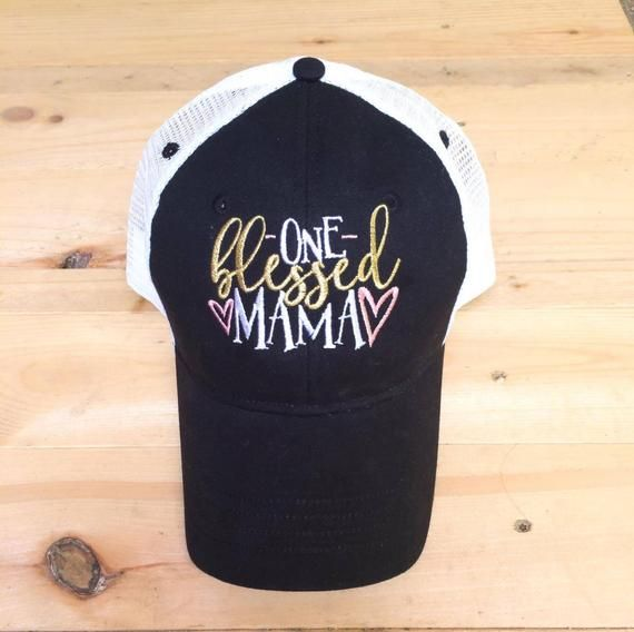 336ab26a One Blessed Mama Trucker Hat, Ladies Hat, Mom Hat, Blessed Mom, Blessed Mama,  pink and gold, mesh ba