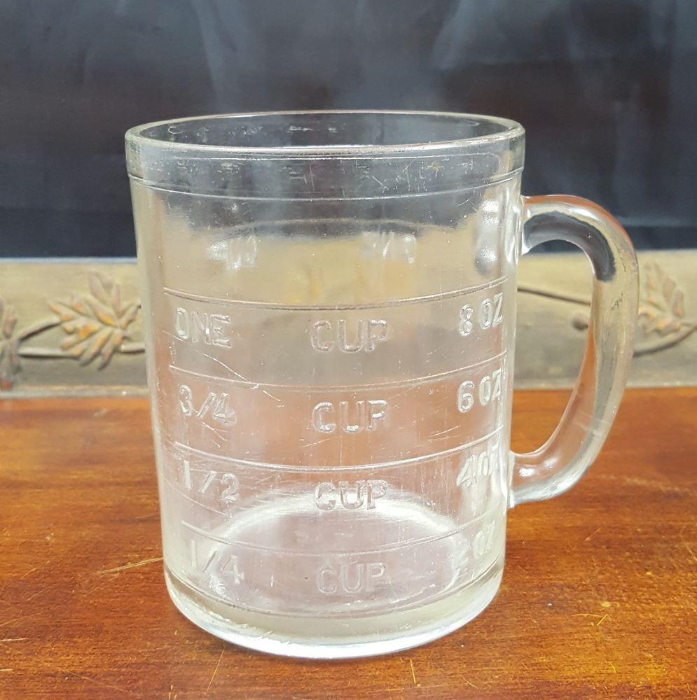 Vintage Hazel Atlas Spoutless Dry Measuring Cup Clear