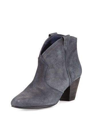 Jalouse Suede Slip-On Western Ankle Bootie, Midnight by Ash at Neiman Marcus.
