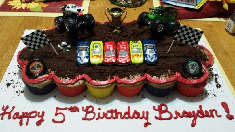 Monster Jam Cupcake Cake I Made For My Grandboy With Images