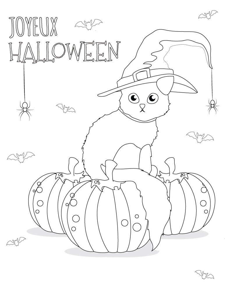 Coloriage chat dessins halloween imprimer gratuit coloriages d 39 halloween coloring pages - Dessin a imprimer d halloween ...