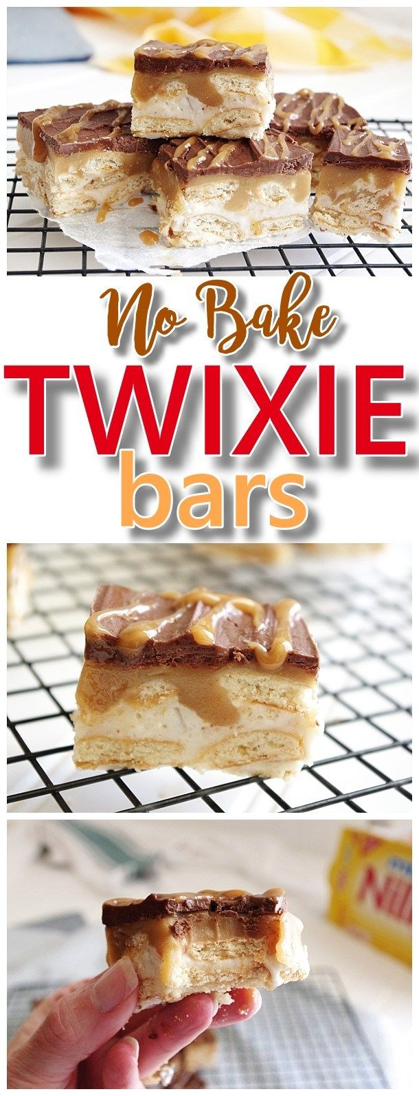No Bake Twixie Cookie Bars Caramel Chocolate Mini Nilla Wafer Cookies Easy Dessert Treats Recipe Recipe Easy No Bake Desserts Desserts Baking