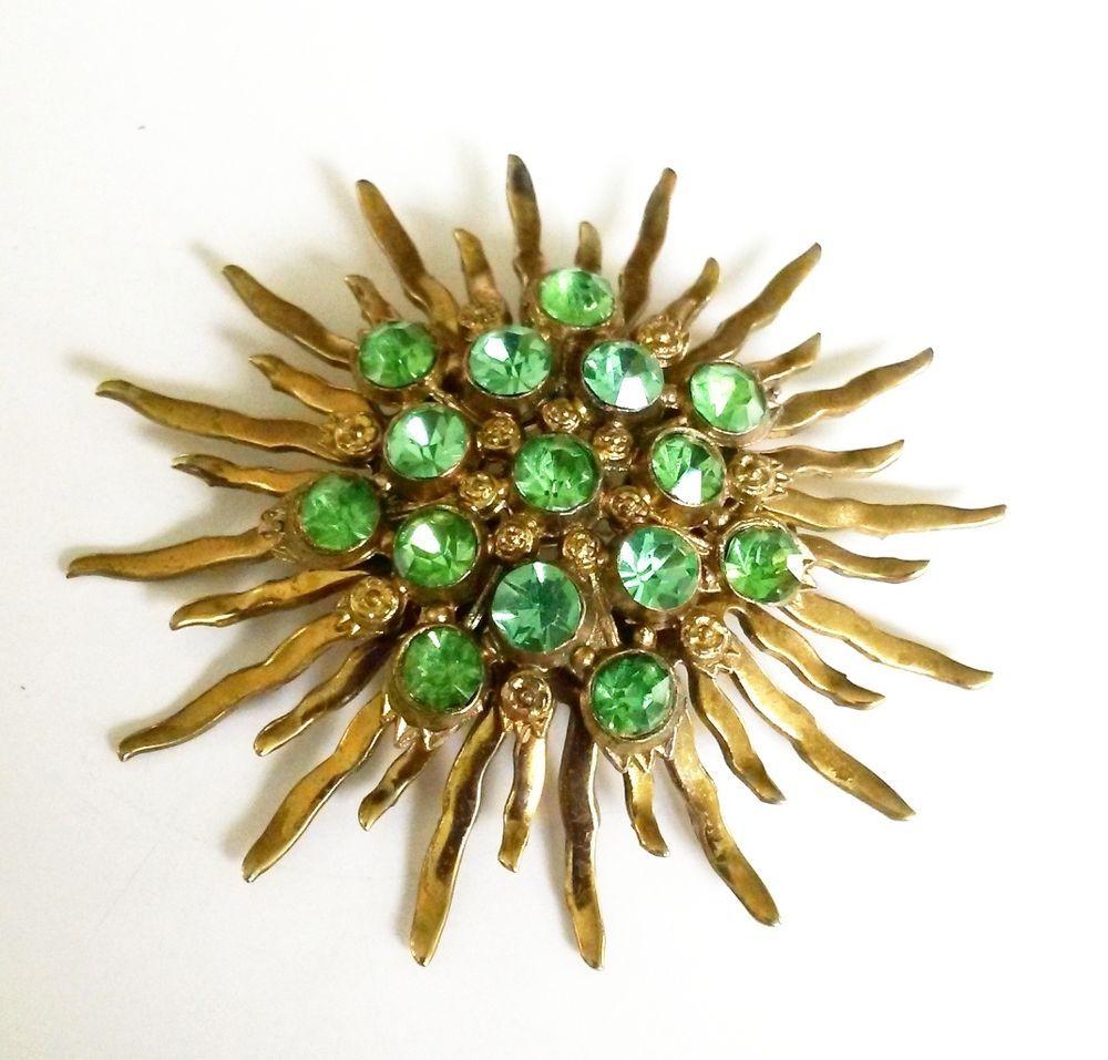 Vtg 1940s Sunburst Starburst Green Rhinestone Brass Tone Brooch Pin Pot Metal