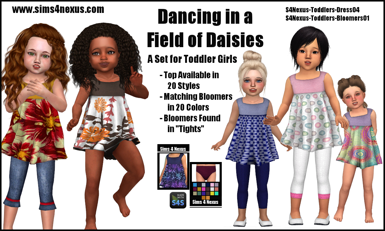 Dancing In A Field Of Daisies Original Content Sims 4 Nexus Sims 4 Sims 4 Toddler Toddler Girl Outfit