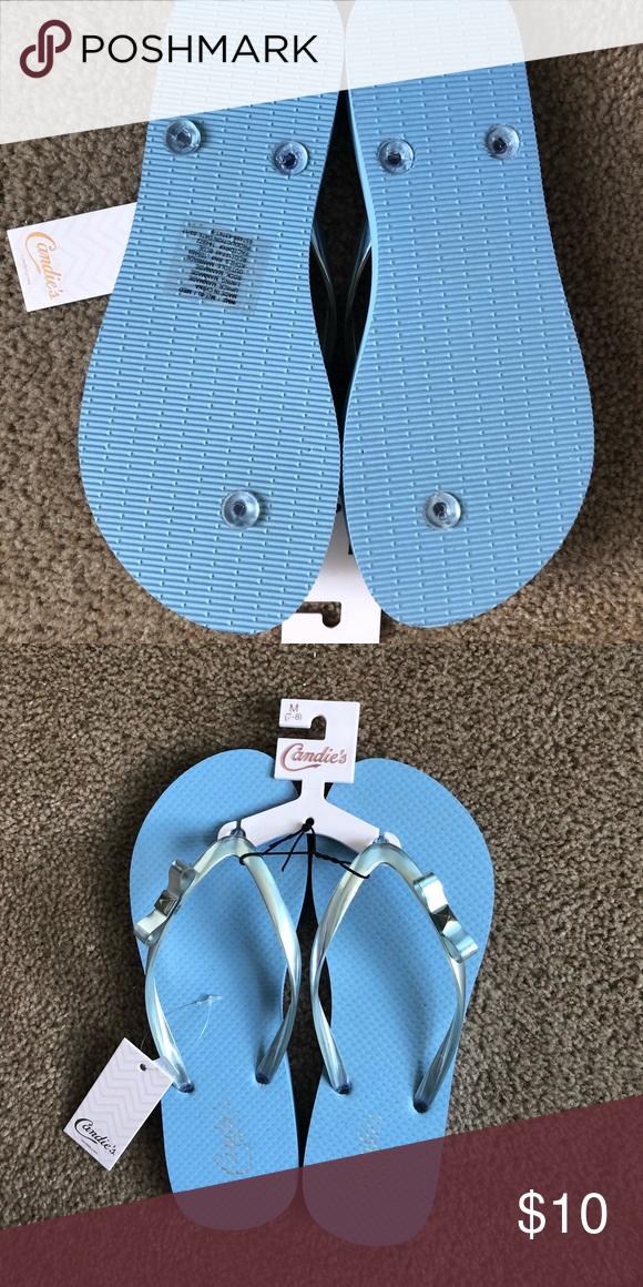 d22dba760d65e Candie s Flip Flops Brand new. Never worn. Blue flip flops with metallic  decorative bow