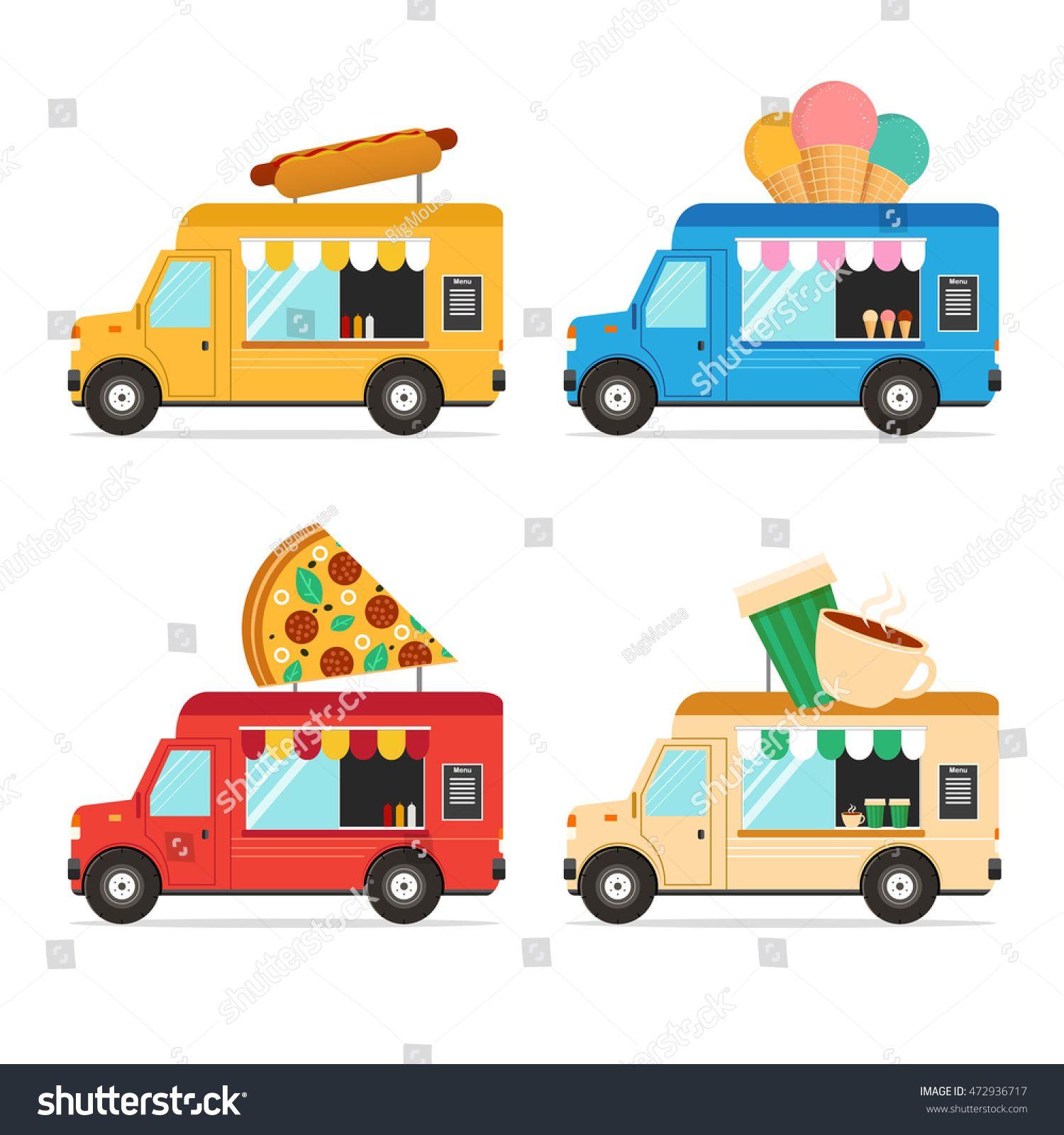 Street Fast Food Truck Set Flat Cartoon Design Vector